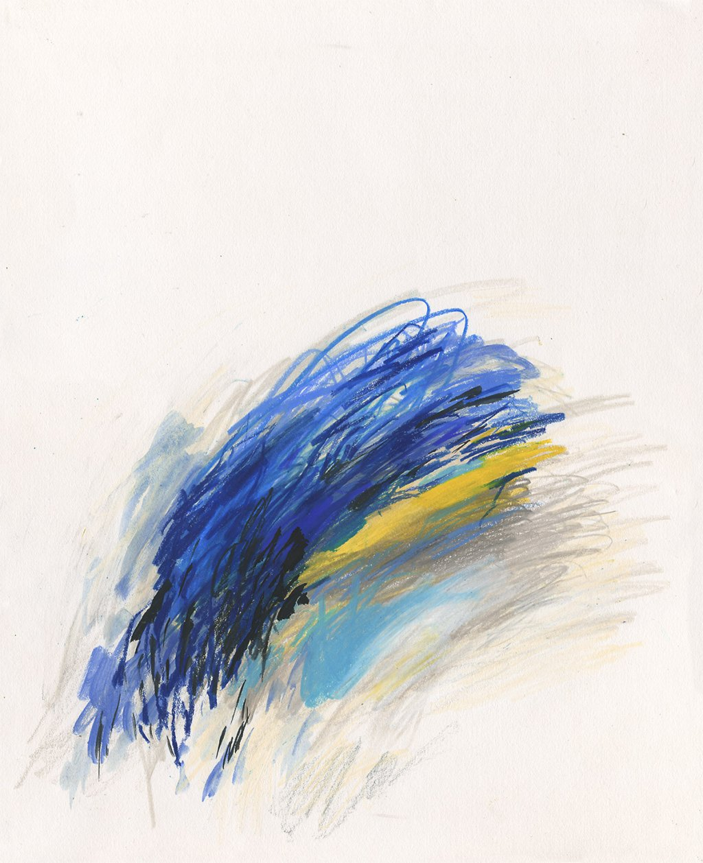 abstract blue and yellow painting