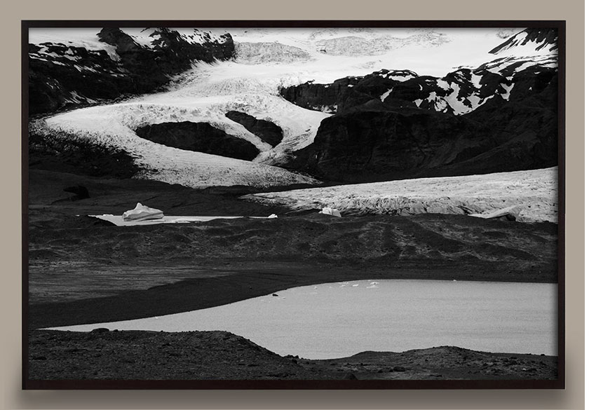 black and white snowy landscape photograph