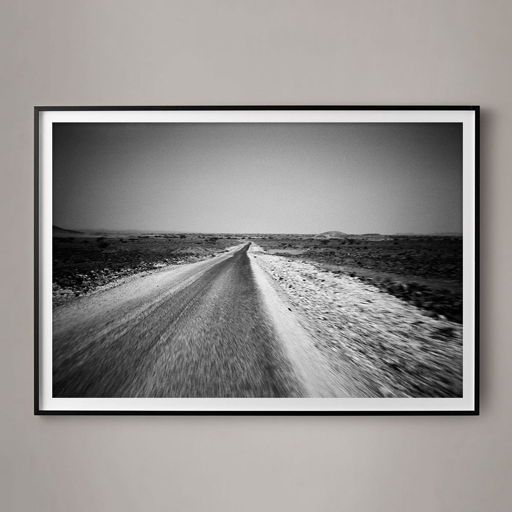 black and white open road photograph