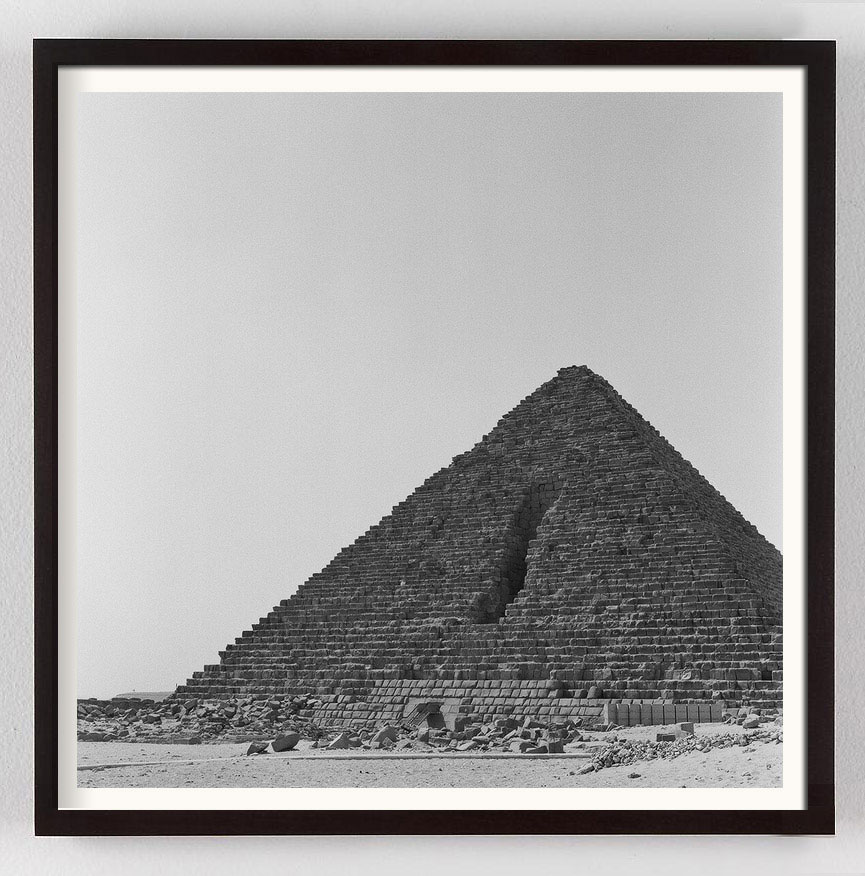 Black and white photograph of Giza Pyramids