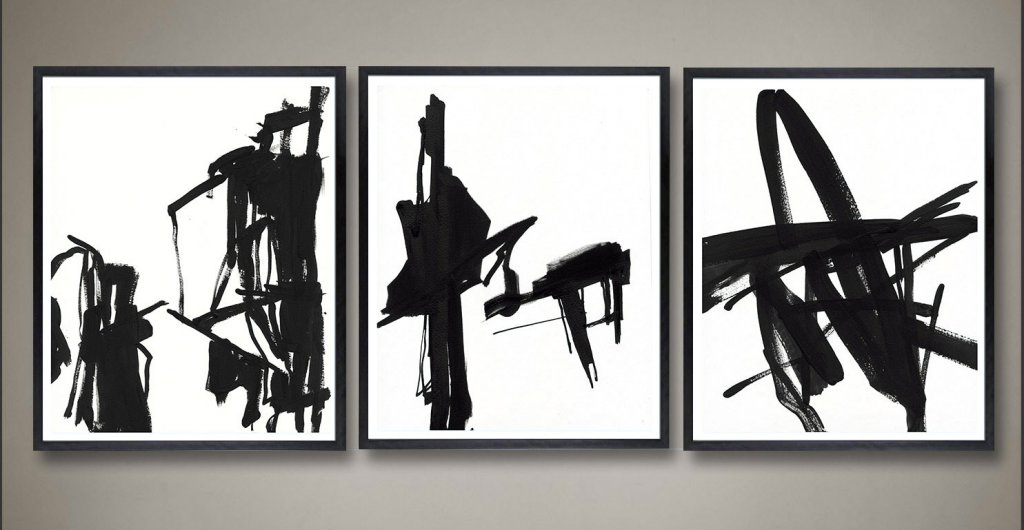 Black and White Abstract triptych