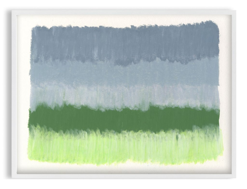 grey and green abstract painting