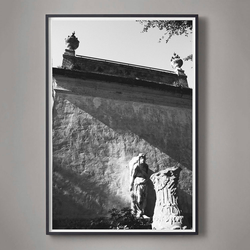 Black and White Photograph of Statue