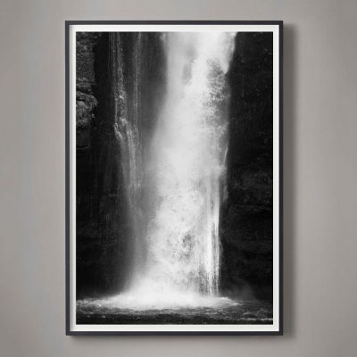 black and white waterfall photograph