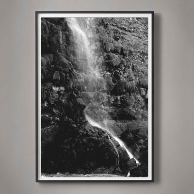 Black and White Photograph of a Waterfall