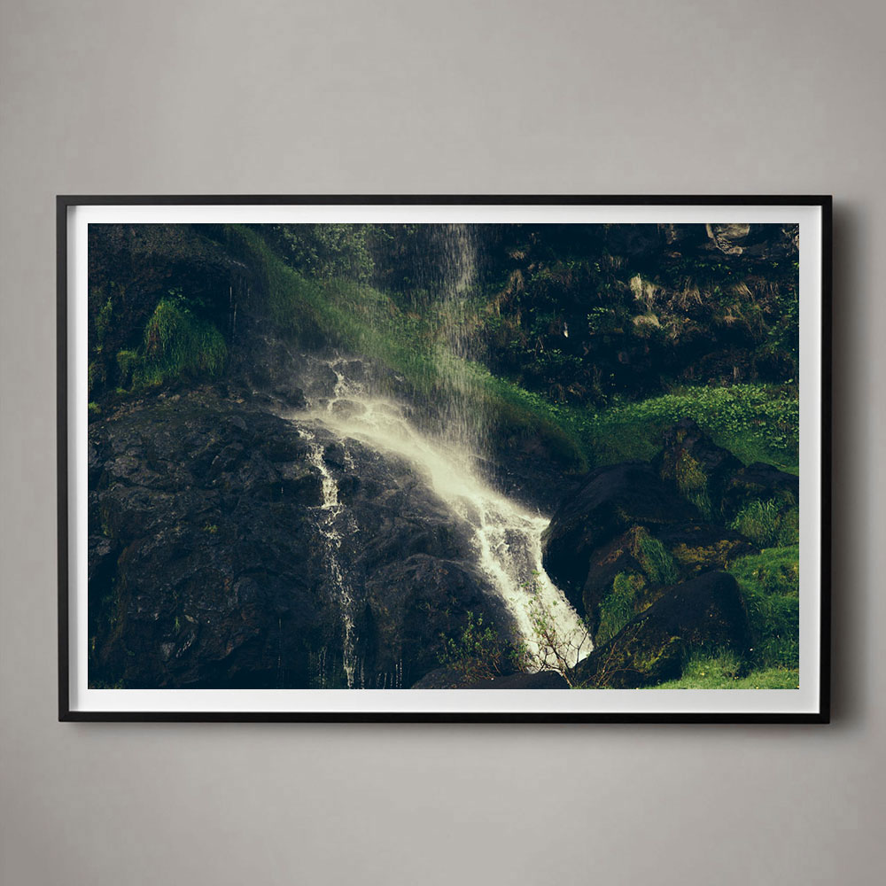 Color Photograph of Waterfall in Iceland