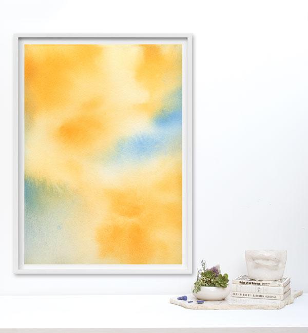 yellow watercolor painting print
