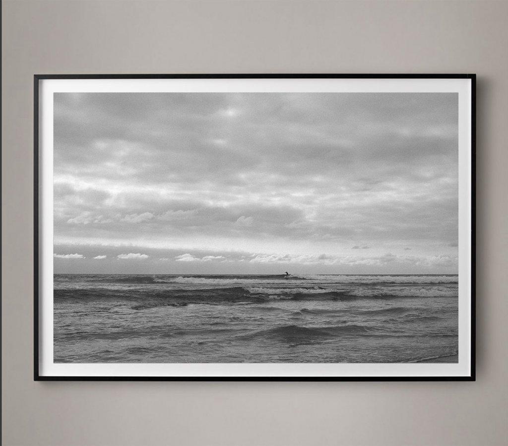black and white surfer photo