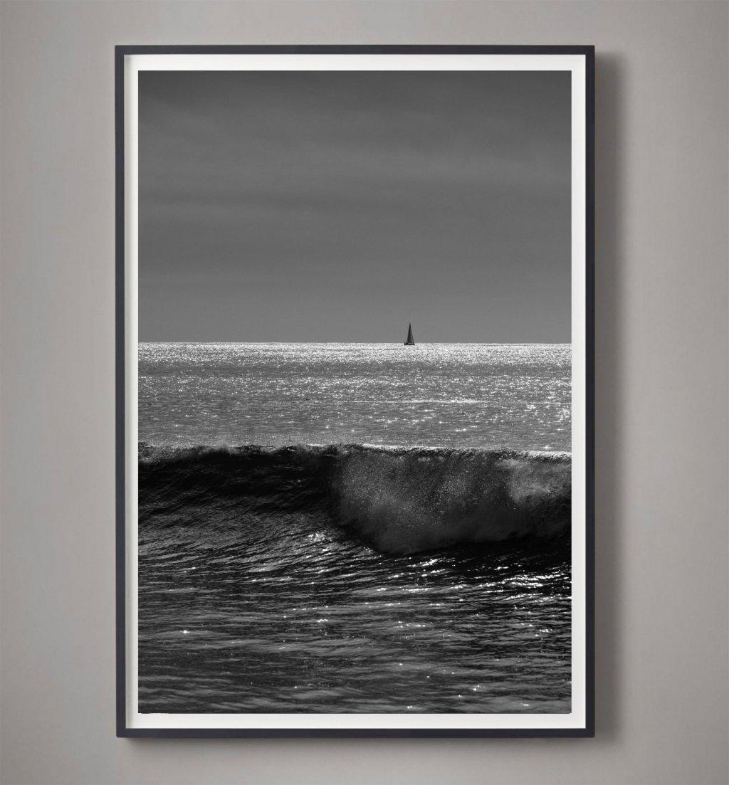 black and white sailboat photo