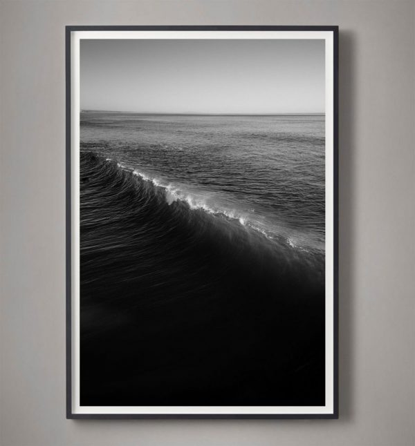 black and white wave break photograph