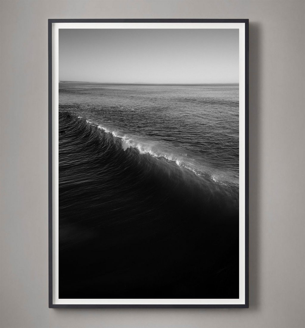 black and white wave break photograph