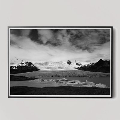 black and white iceland landscape photo