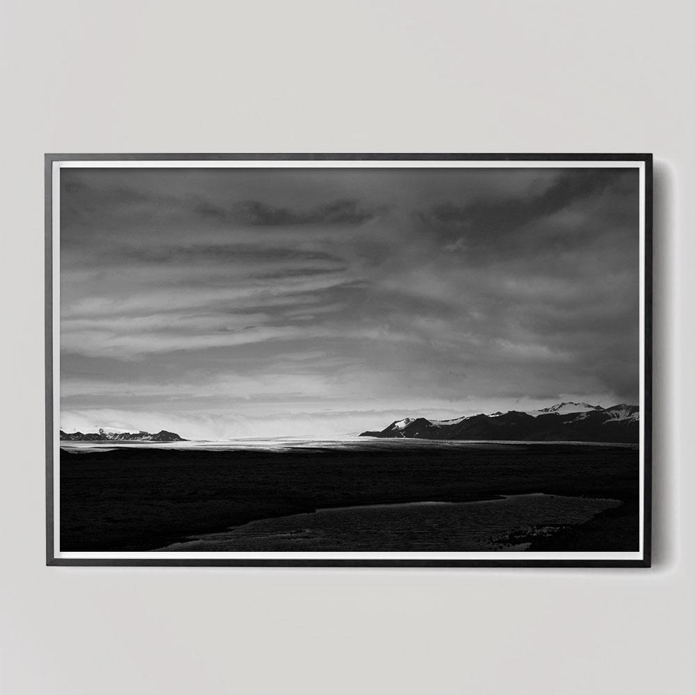 black and white iceland landscape photo