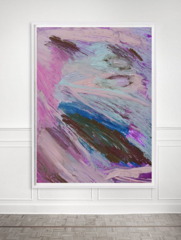 pink and blue abstract painting print