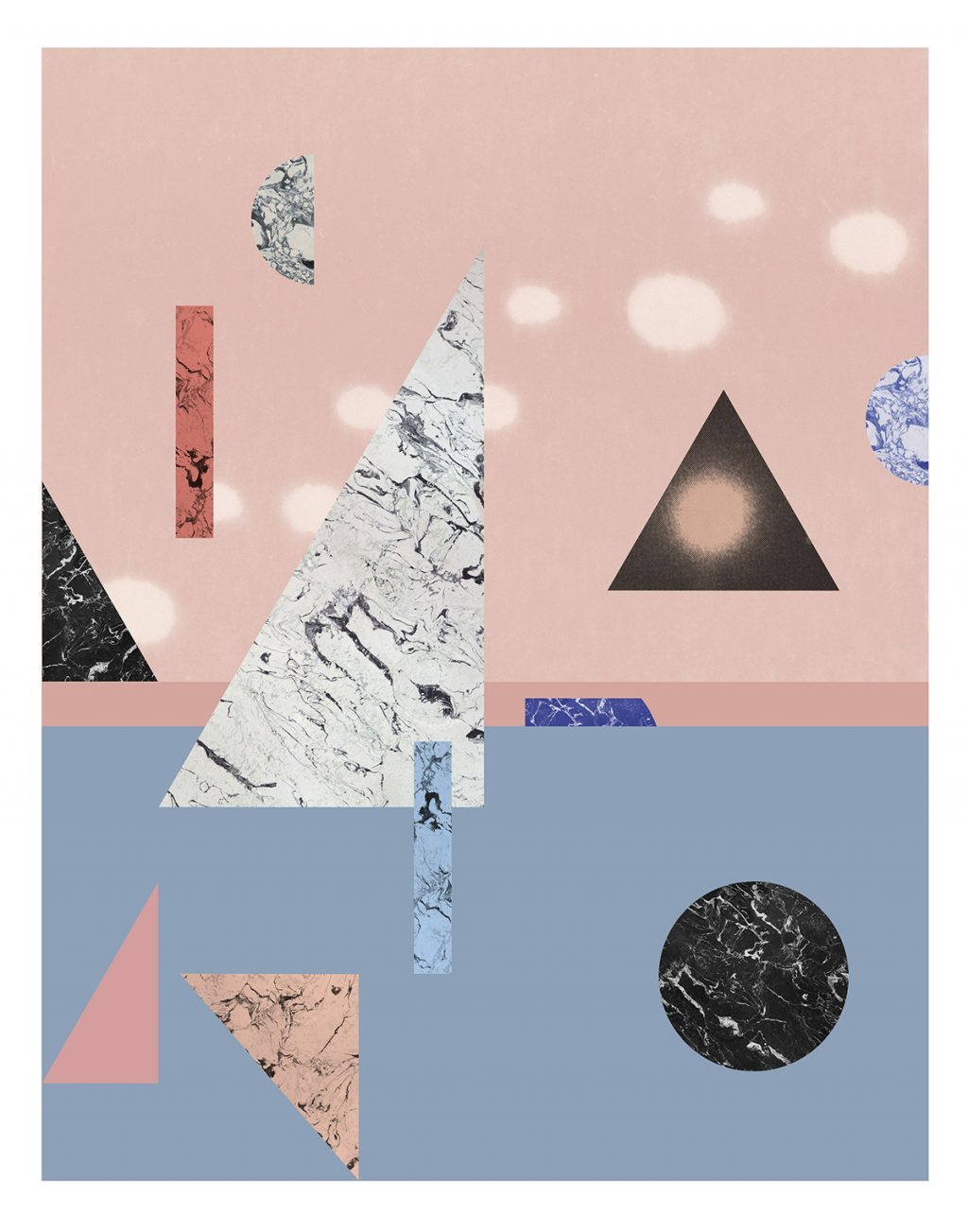 large pink and blue geometric art print