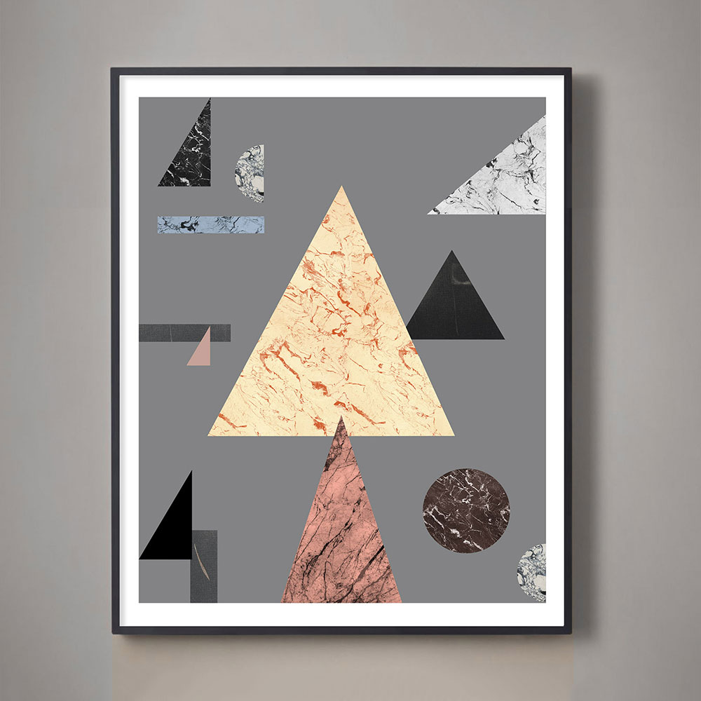 large yellow and terracotta geometric art print