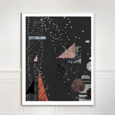 black and pink large abstract geometric collage print