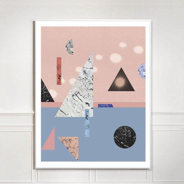 pink and blue geometric art print