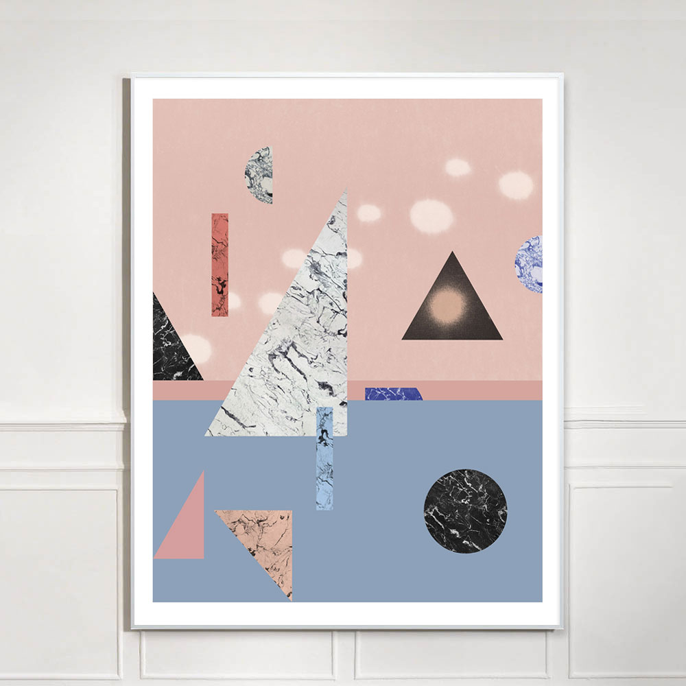 pink and blue geometric art print