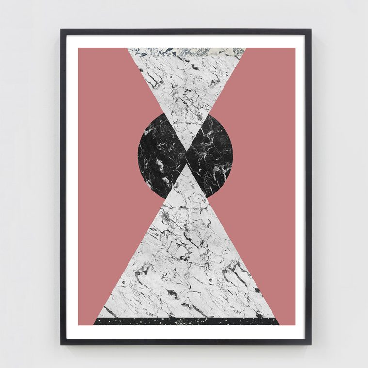terracotta abstract art print collage with marble