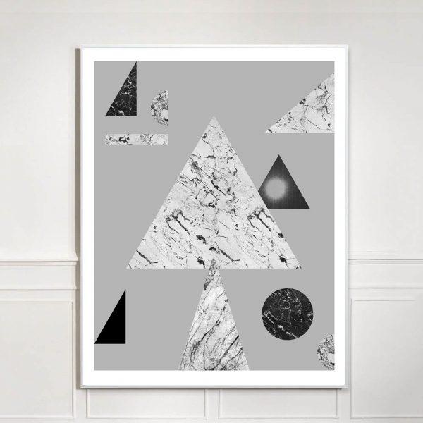 black and white geometric art print