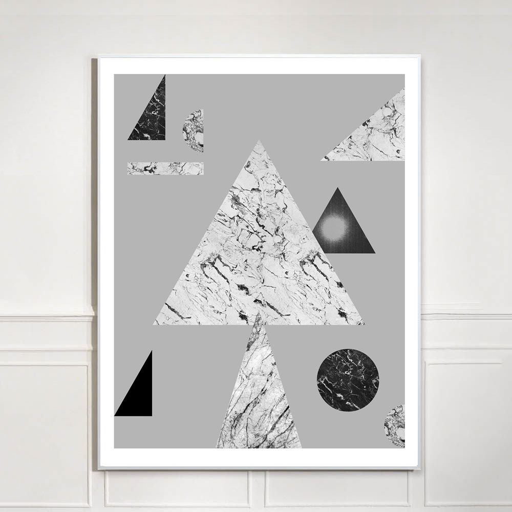 black and white geometric art print