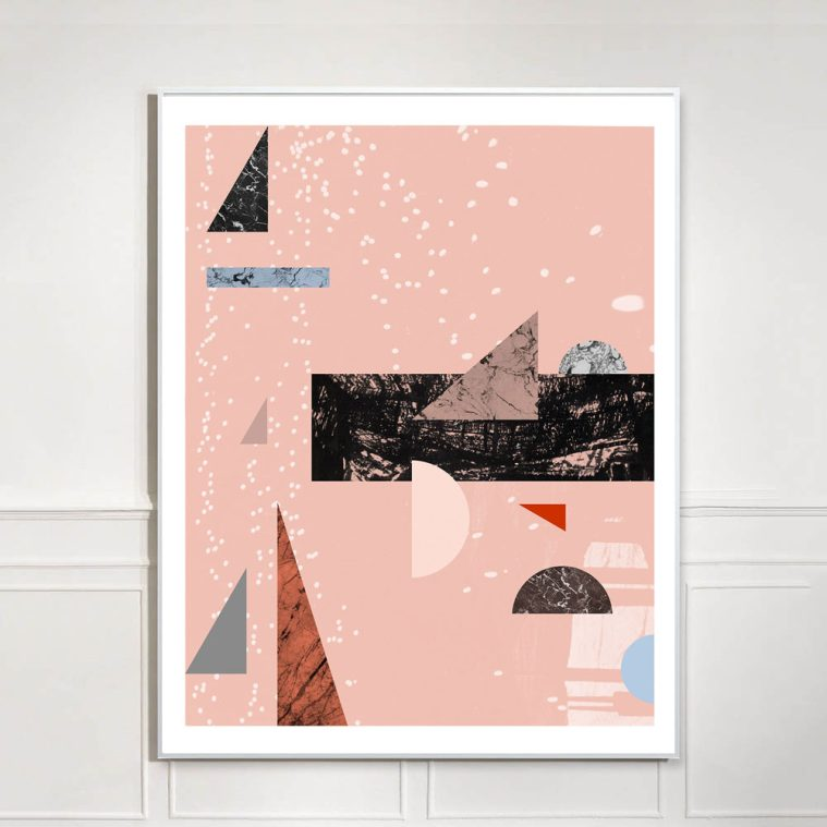 large pink abstract geometric collage