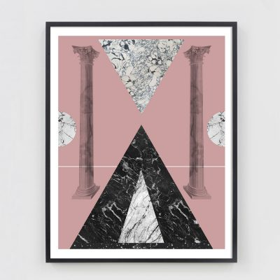geometric collage with marble texture and greek columns with black and pink
