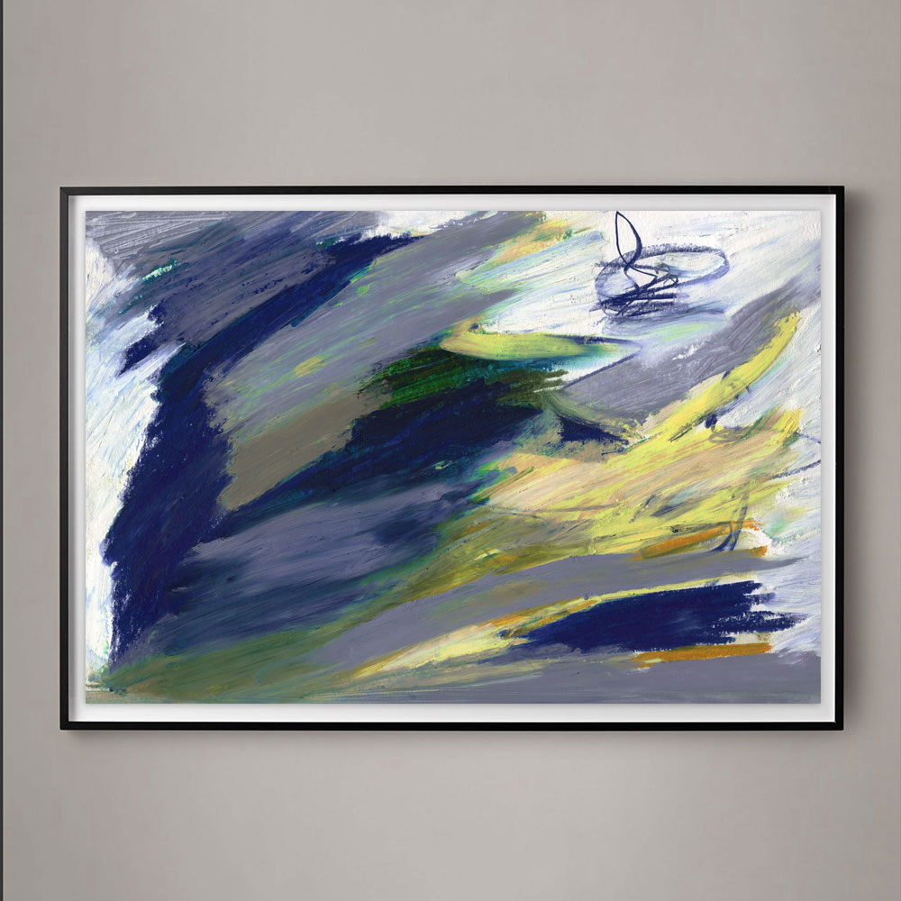 navy blue and yellow abstract painting