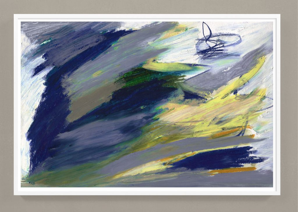 navy blue and yellow abstract painting print