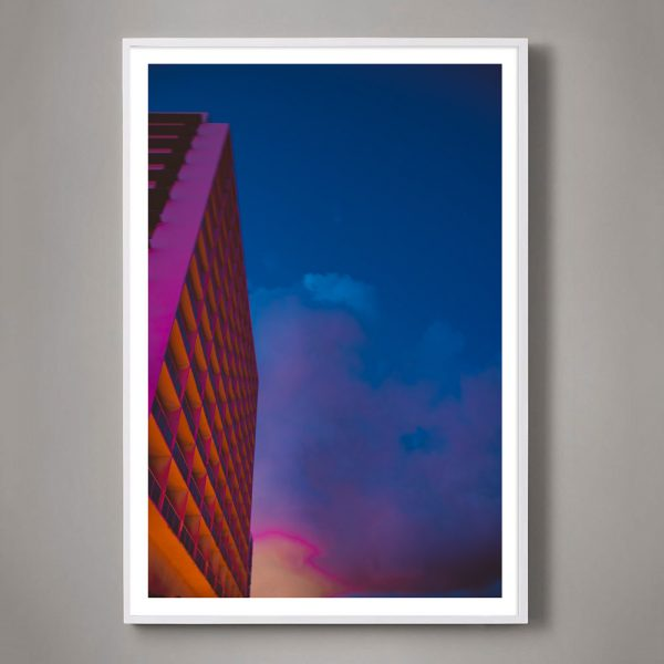 hot pink miami architecture with sky