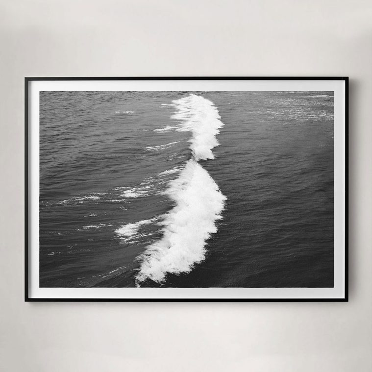 black and white crashing wave photo