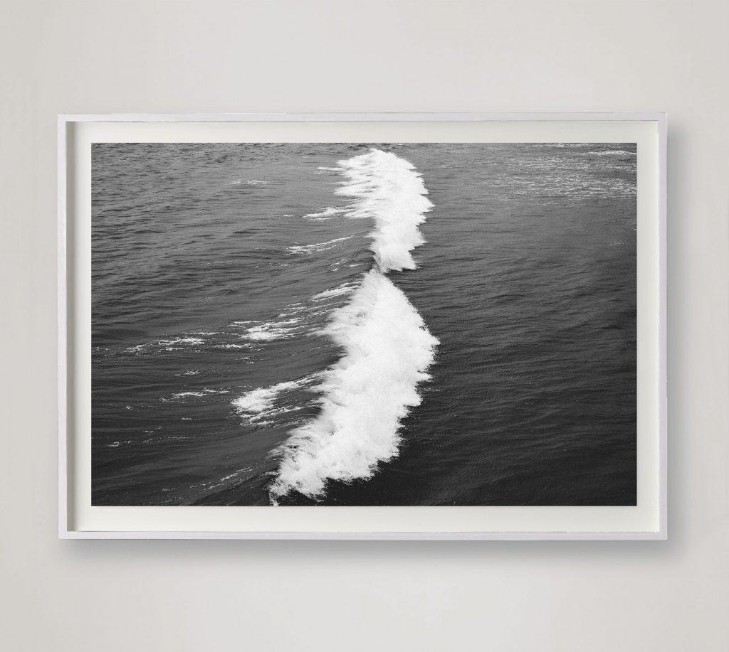 black and white crashing wave photo