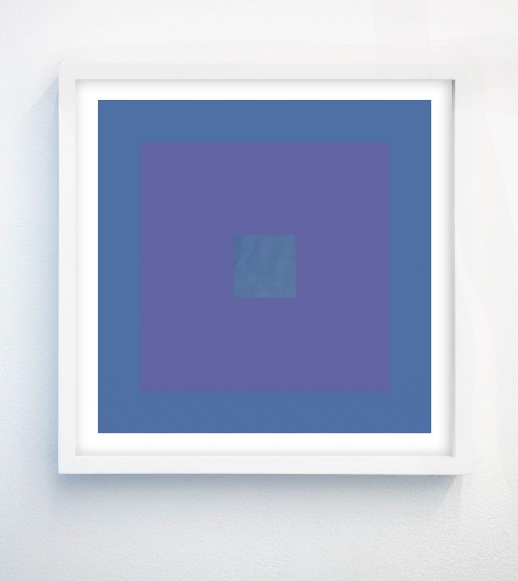minimalist abstract geometric art print with cornflower blue and lavender