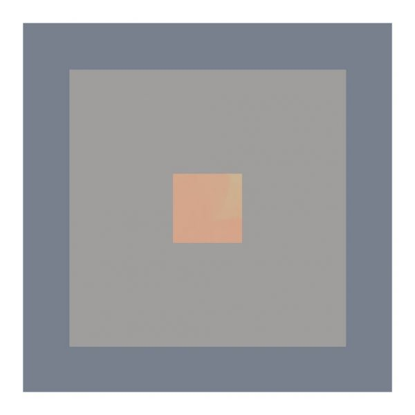 minimalist abstract geometric art print with cornflower grey and peach
