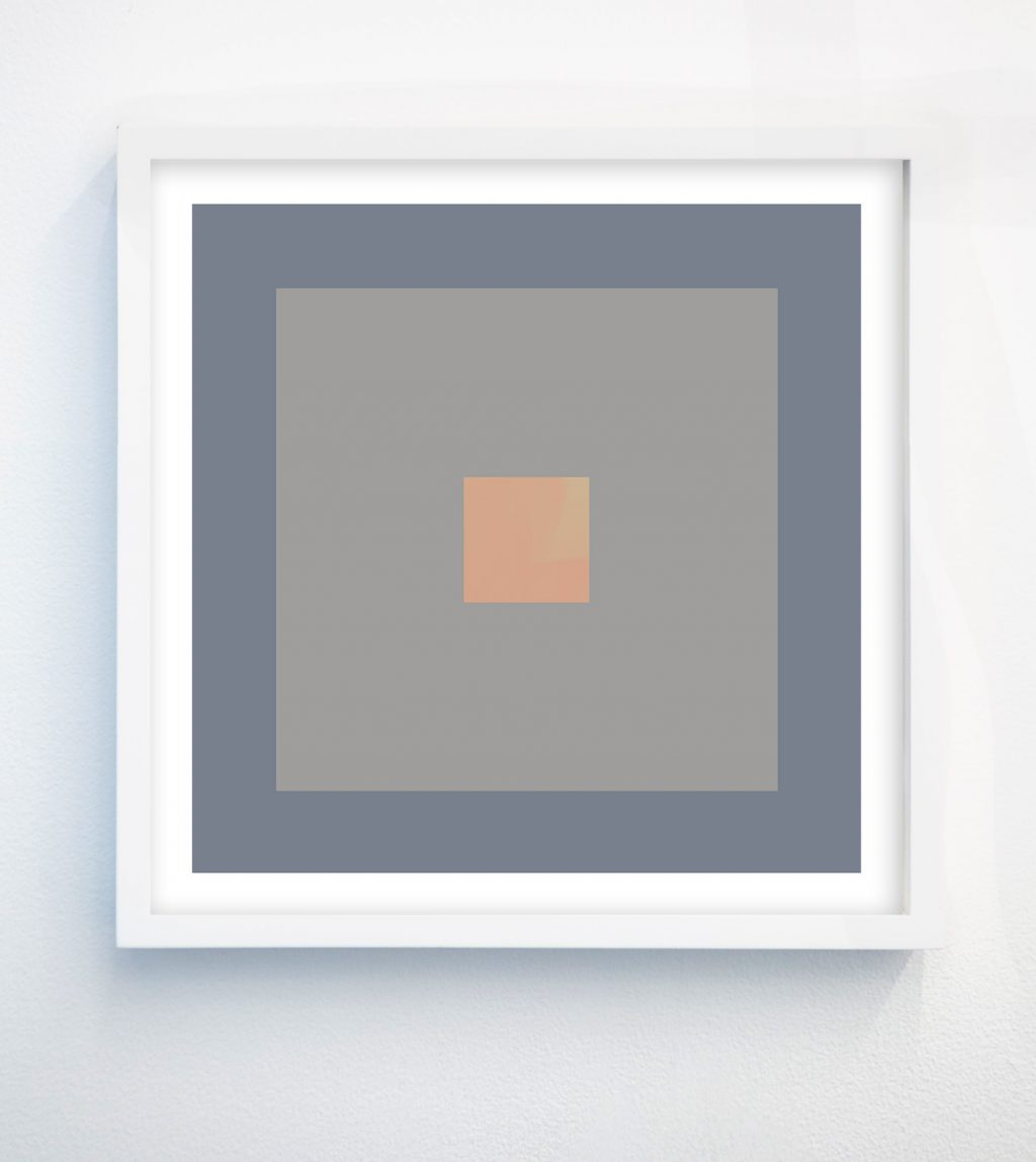 minimalist abstract geometric art print with cornflower grey and peach