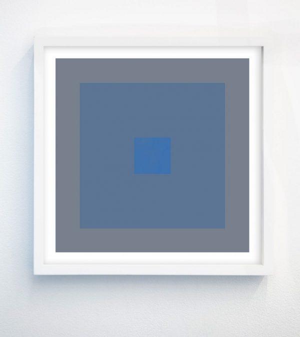 minimalist abstract geometric art print with cornflower blue and grey