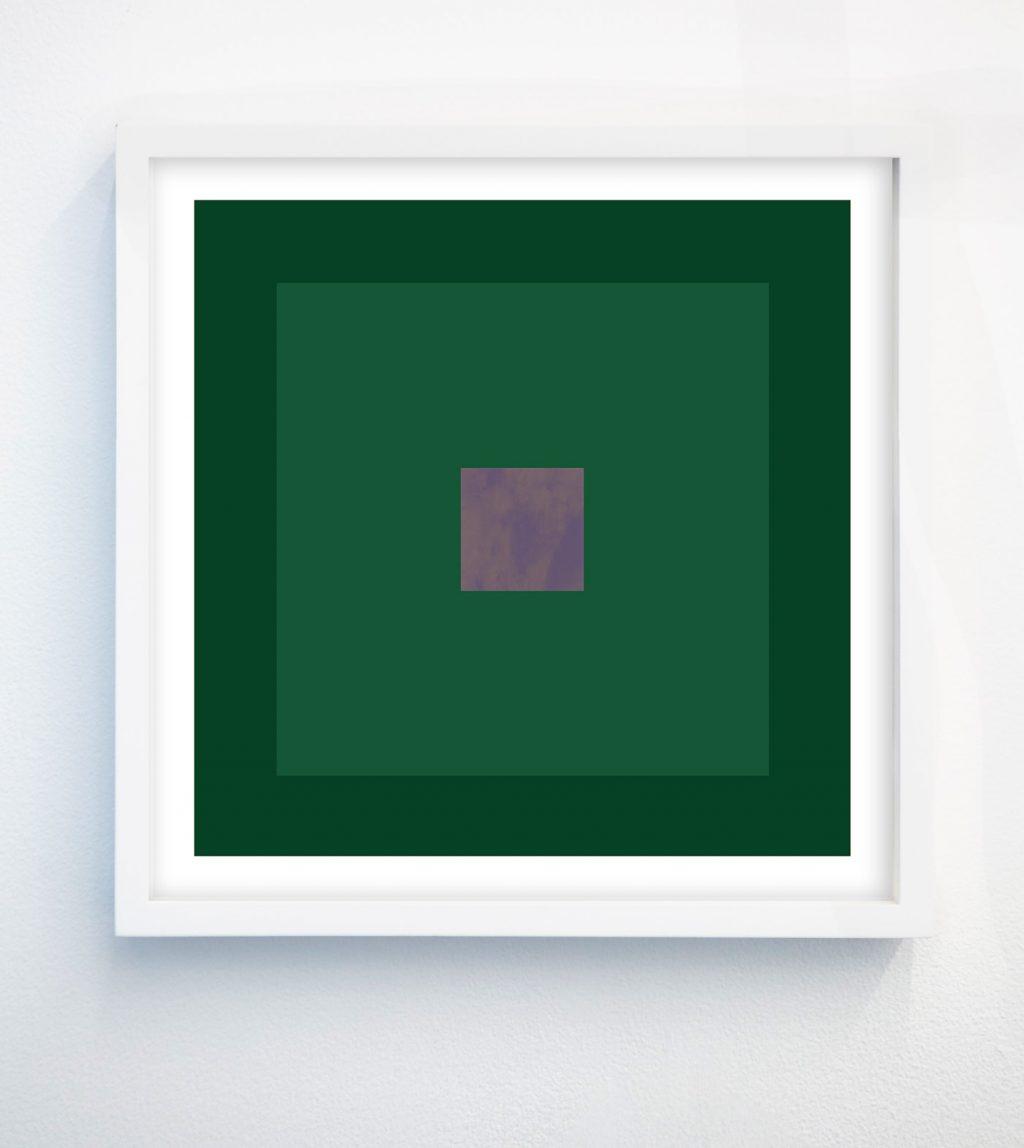 minimalist abstract geometric art print with emerald green