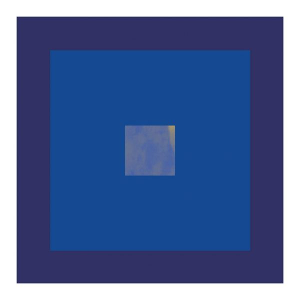 minimalist abstract geometric art print with indigo and blue
