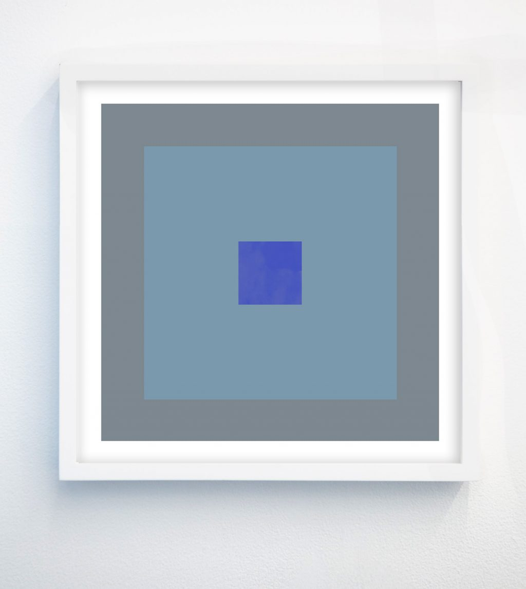 abstract geometric art print with gray, blue, teal