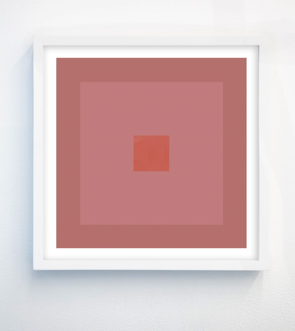 abstract geometric art with pink and terracotta