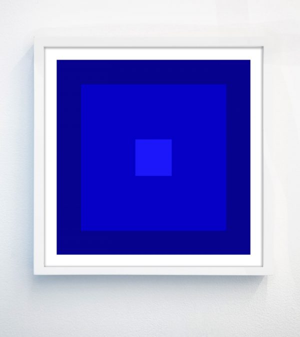 bright blue geometric art print