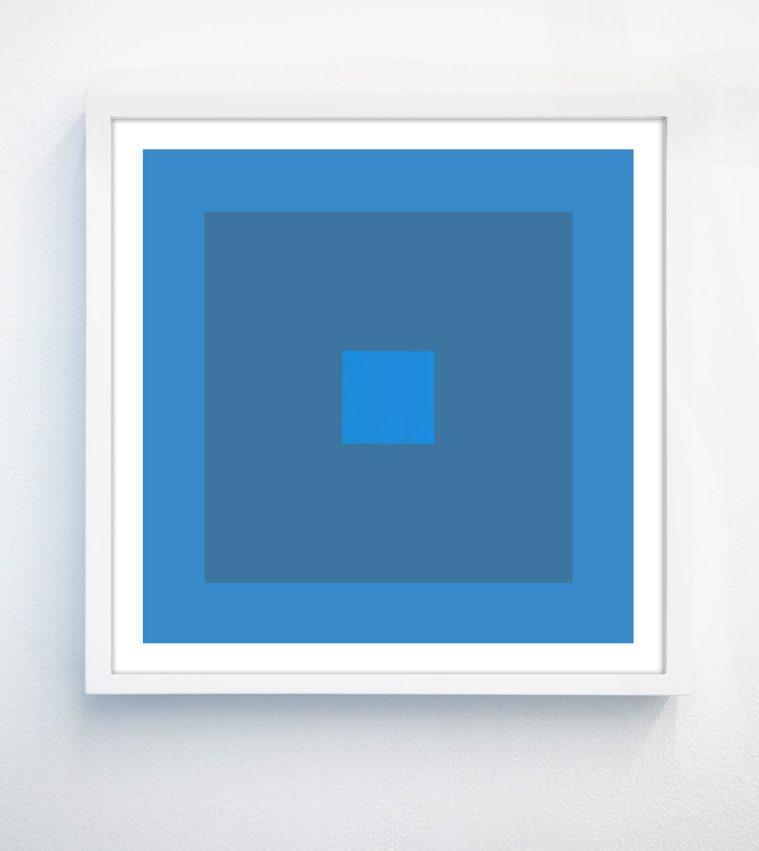 blue geometric print