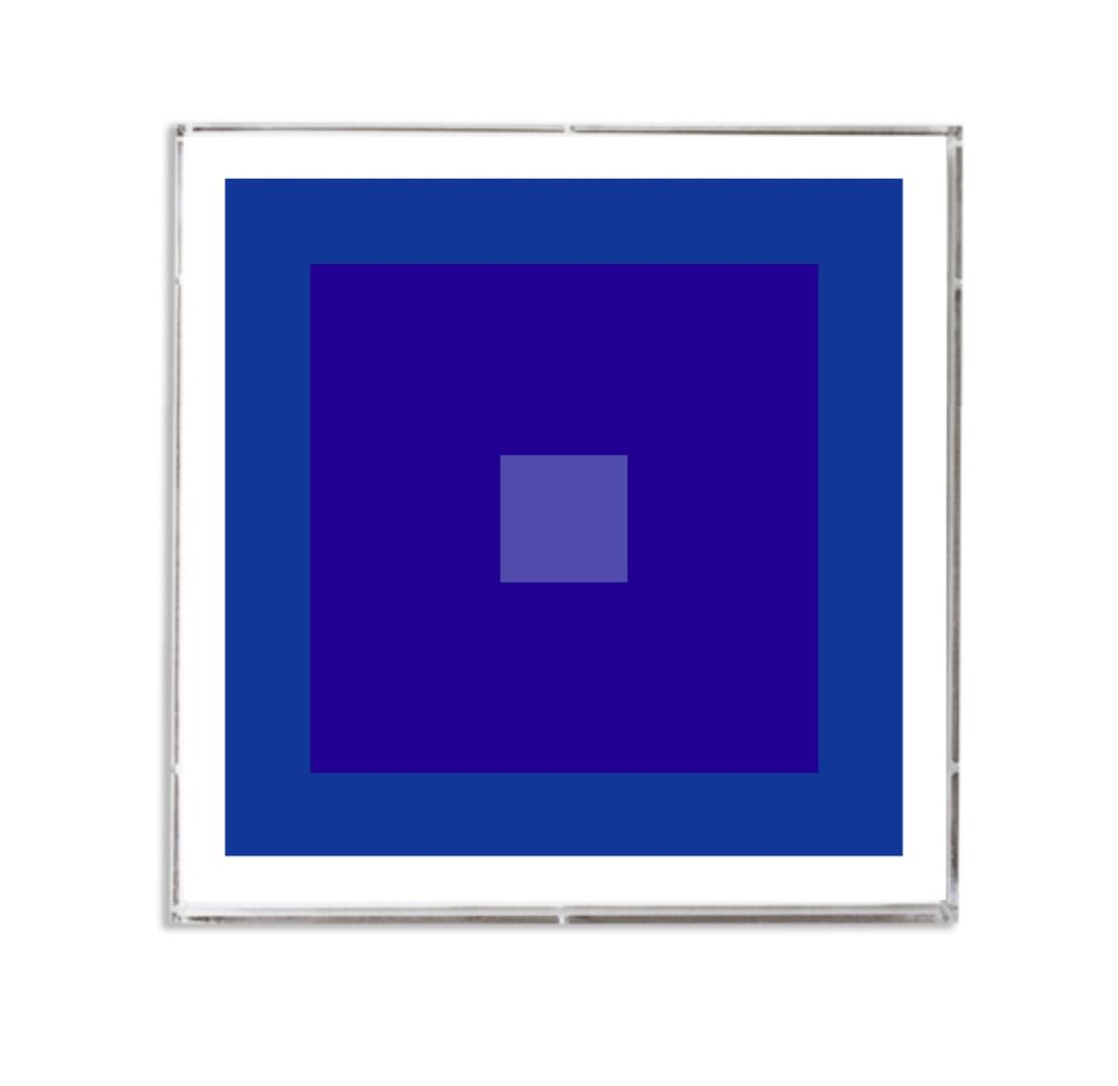indigo blue abstract geometric art in lucite frame