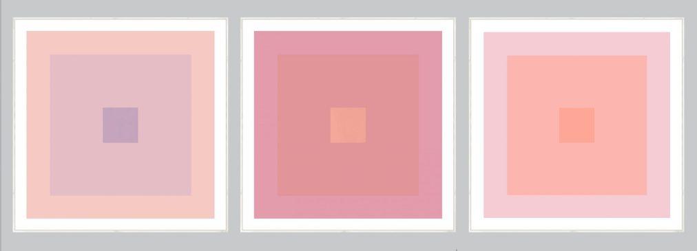 set of pink geometric art prints
