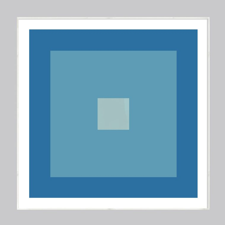 geometric abstract art in robins egg blue