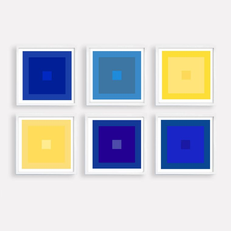colorful abstract art set with blue and yellow